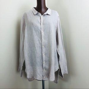 CP Shades Beige Button Down Linen Lagenlook Shirt